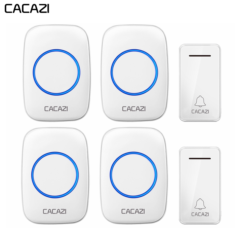 CACAZI Self-powered Wireless Doorbell Waterproof No battery US EU UK Plug 2 Button 4 Receiver Led light Home Cordless DoorBell