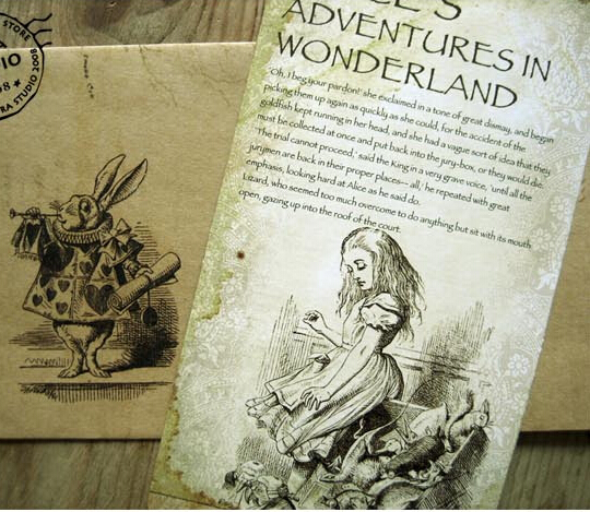 20Pcs/set NEW Vintage Vintage Style Alice's Adventure In Wonderland Post Card Set Greeting Card