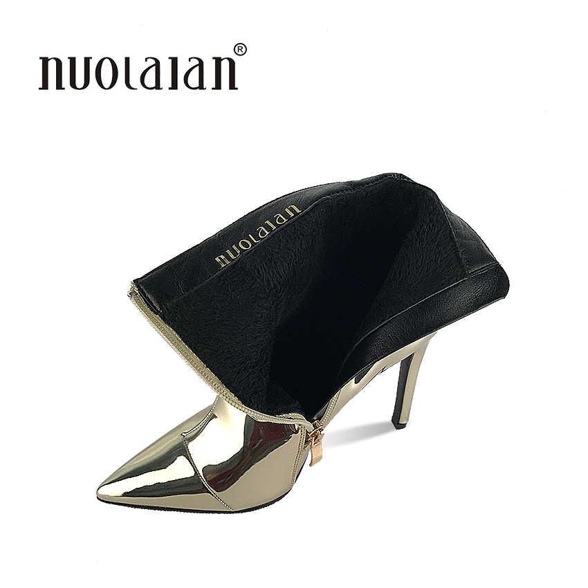 2019 ilkbahar ve sonbahar kadın çizmeler altın gümüş seksi yüksek topuklu yarım çizmeler ayakkabı kadınlar seksi yüksek topuk ayakkabı kadın
