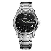 SOLLEN semana display mecánico automático reloj de la tira, calendario, luminoso, resistente al agua 41mm diámetro negro + plata SL9001A