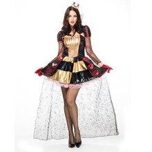 Пикантные queen Of Hearts костюм для взрослых женщин на Хеллоуин королевской королевы s платья женщин Wonderland роялти костюмы одежда принцессы