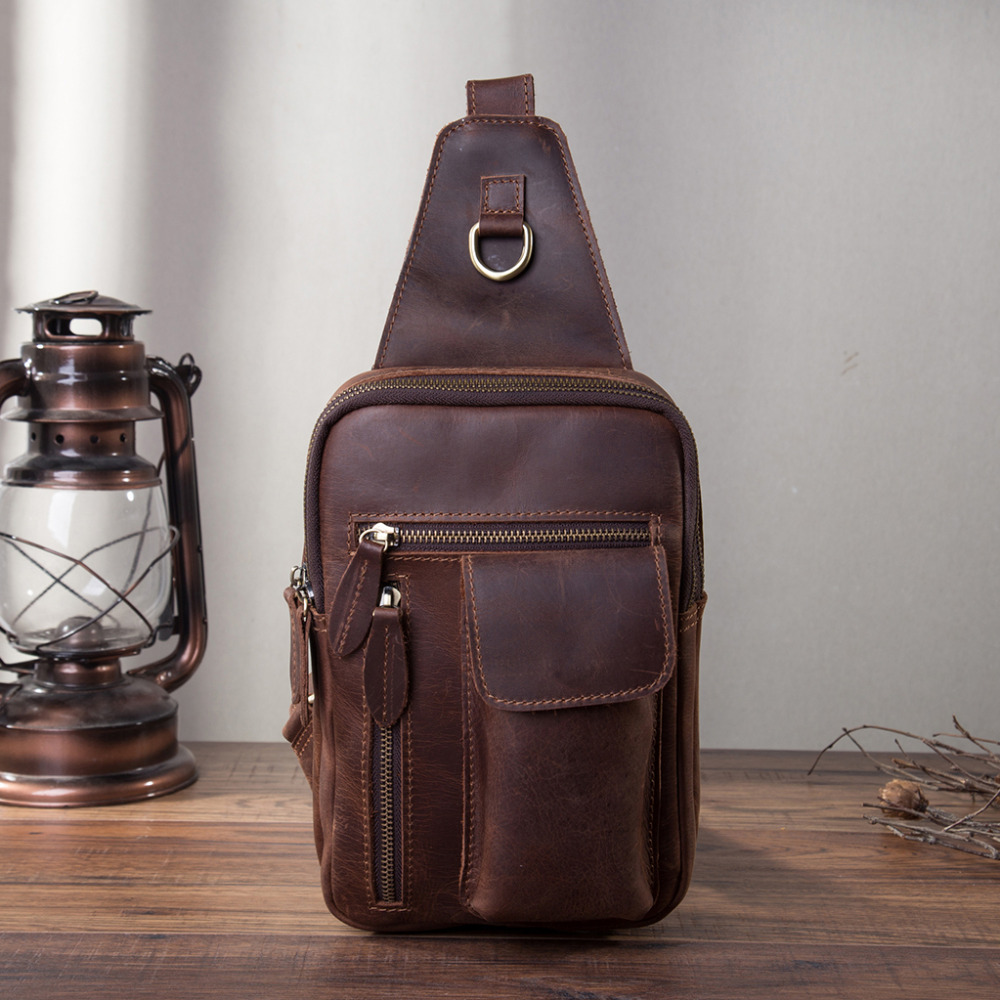 Men Quality Leather Fashion Casual Triangle Chest Sling Bag Brown 8 Tablet Tea Design Travel Daypack One Shoulder Bag Male 9809 рюкзак picard 9809 113 001 schwarz