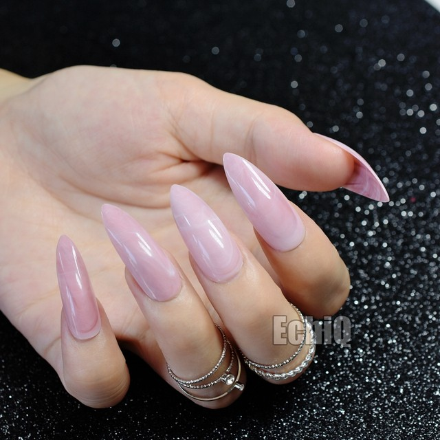 Online Shop Long Pointed Fake Nail Tips Sweet Light Pink Marble ...