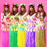 6PCS/set Fashion Plastic Fibers Women Grass Skirts Hula Skirt Hawaiian costumes 80CM Ladies Dress Up Festive & Party Supplies