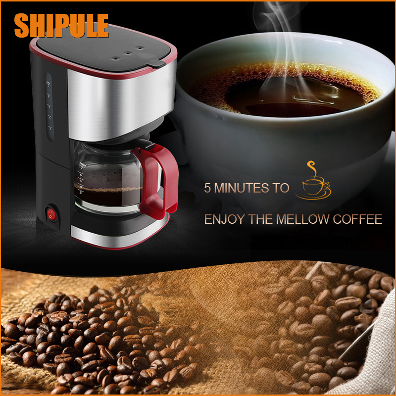 SHIPULE Free Shipping 2017 Newest Fully-Automatic Lovers Coffee Machine 220V 5-7 Cups Drip Coffee Maker American Coffe Machines american coffee maker uses a drip automatic machine