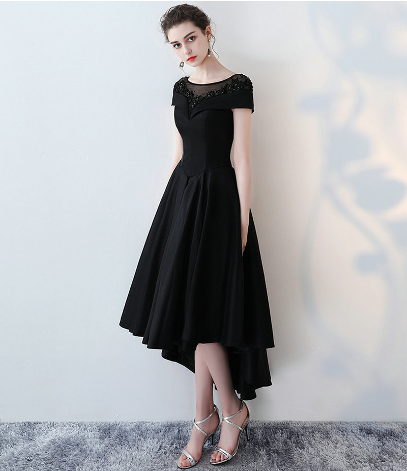 Abend länge Kleid Up Maß Formale 2019 Frauen Strand Scoop Perlen Satin Party Kleider Lace Nach Schwarzes Sexy Schwarz Tee Prom xn1ZZp