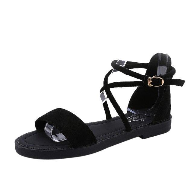 67d645e783e1 Women s sandals Girls Flat Sandals Cross Straps Open Toe Buckle Low Heel  Sandals Wedge Summer women s shoes andalia feminina A8
