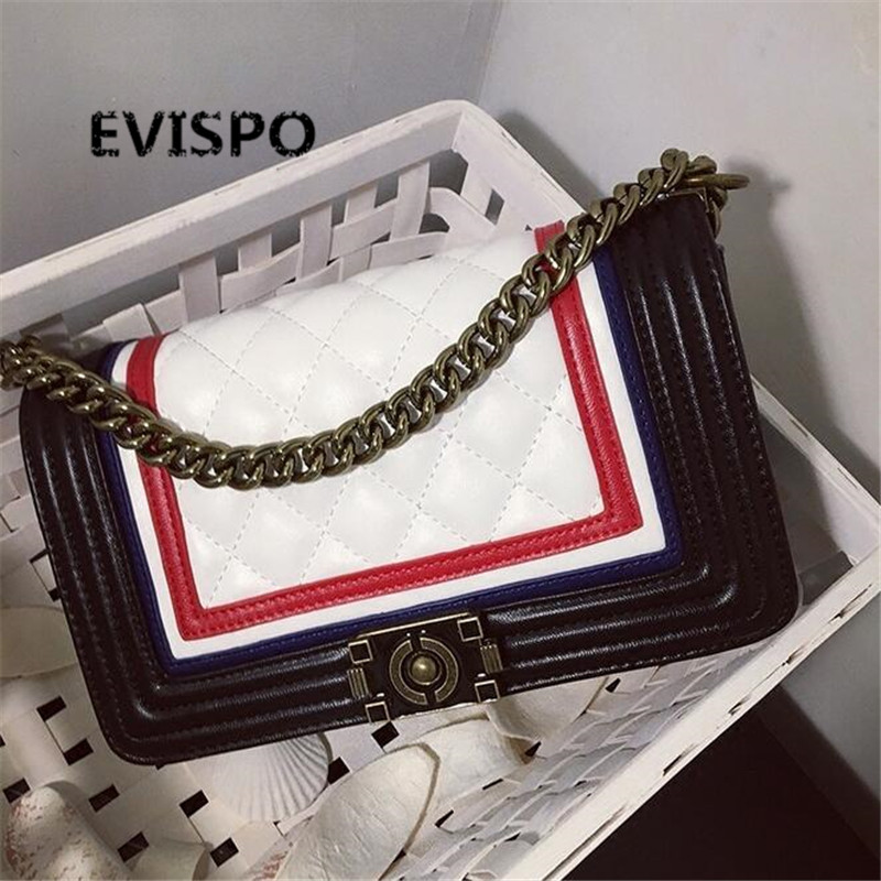 EVISPO Handbag blue/  White 2-color shoulder bag sac a main femme sac a main femme de marque luxe cuir hot free shipping стоимость
