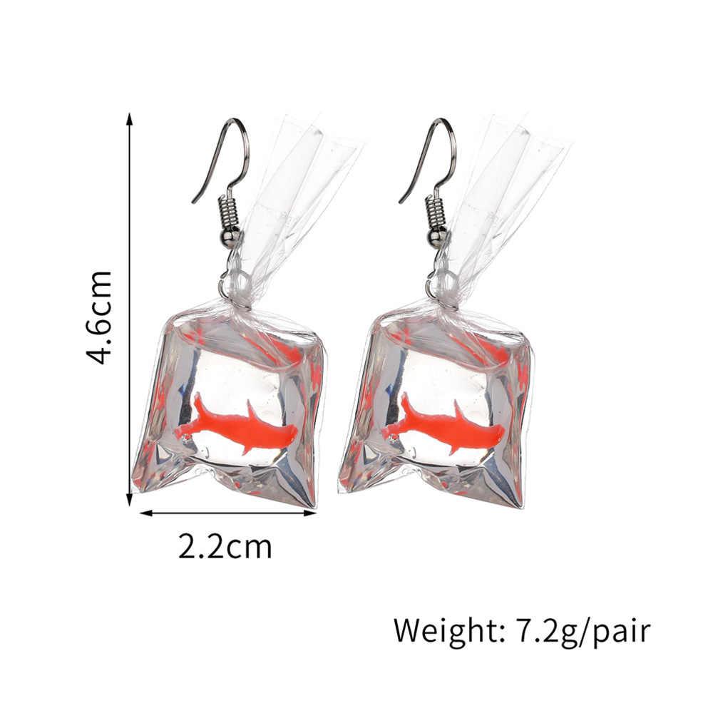 Brincos de Moda de nova Engraçado Desenhos Animados Sacos De Água Peixinho Forma Oscila o Brinco Charme Resina Brincos Atacado