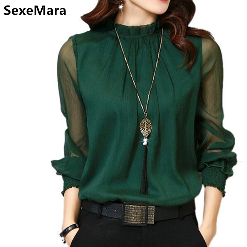 2017 spring chiffon blouse shirt women s clothing 5 colors solid sexy shirt mesh women blouse