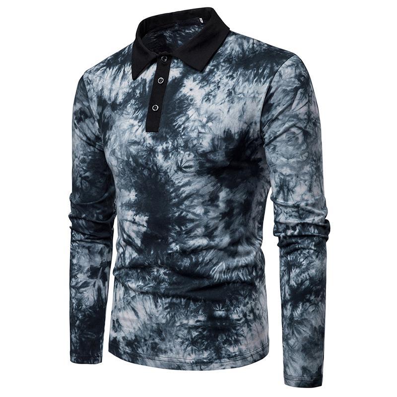 Colorful Design Lapel Polo Shirt Men's Long Sleeves Men Polo Shirt Casual Black Red Blue 2019 New