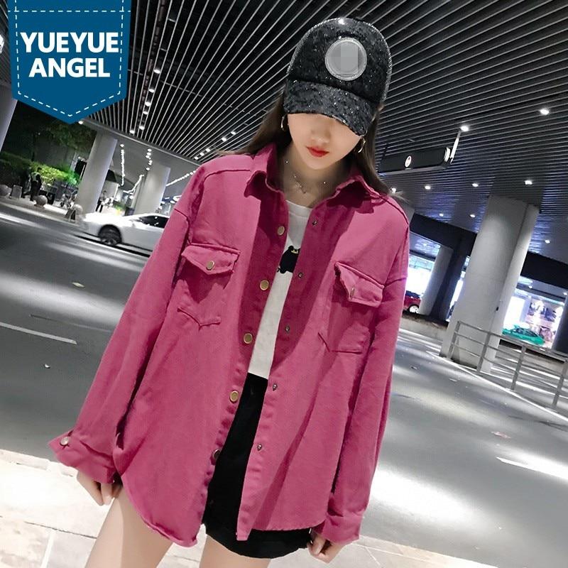 Printemps 2019 femme Denim chemise lâche à manches longues Blouse Streetwear Harajuku noir chemise coréenne mode vêtements haut grande taille 5XL