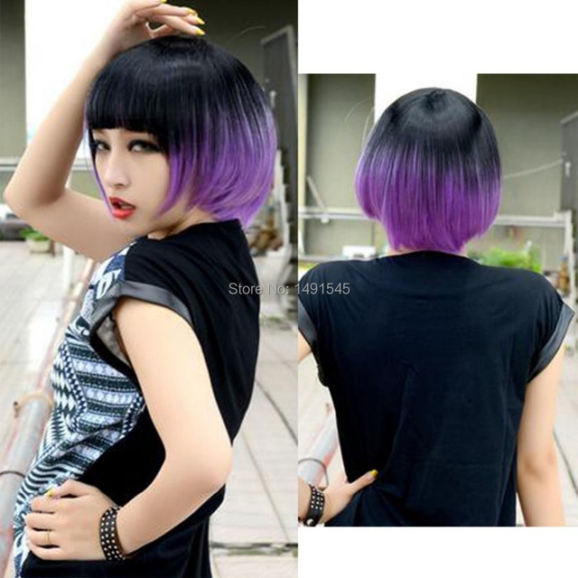 Women s Fashion Cool Black Purple Mix Hair Cosplay Costume Wig Afro natural  corto kinky rizado cabello a3f8fa03c