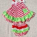 Девочка костюм дети качели лето ползунки набор chevron младенческая baby девушки свинг топ с блумер KP-SW022