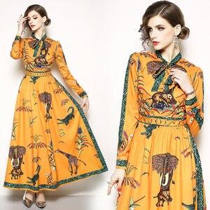 Image 4 - Runway Designer Maxi Dress Womens Elegant Beach Vacation Animal Printing Long Dress Bow Collar Floor Length Party Dresses