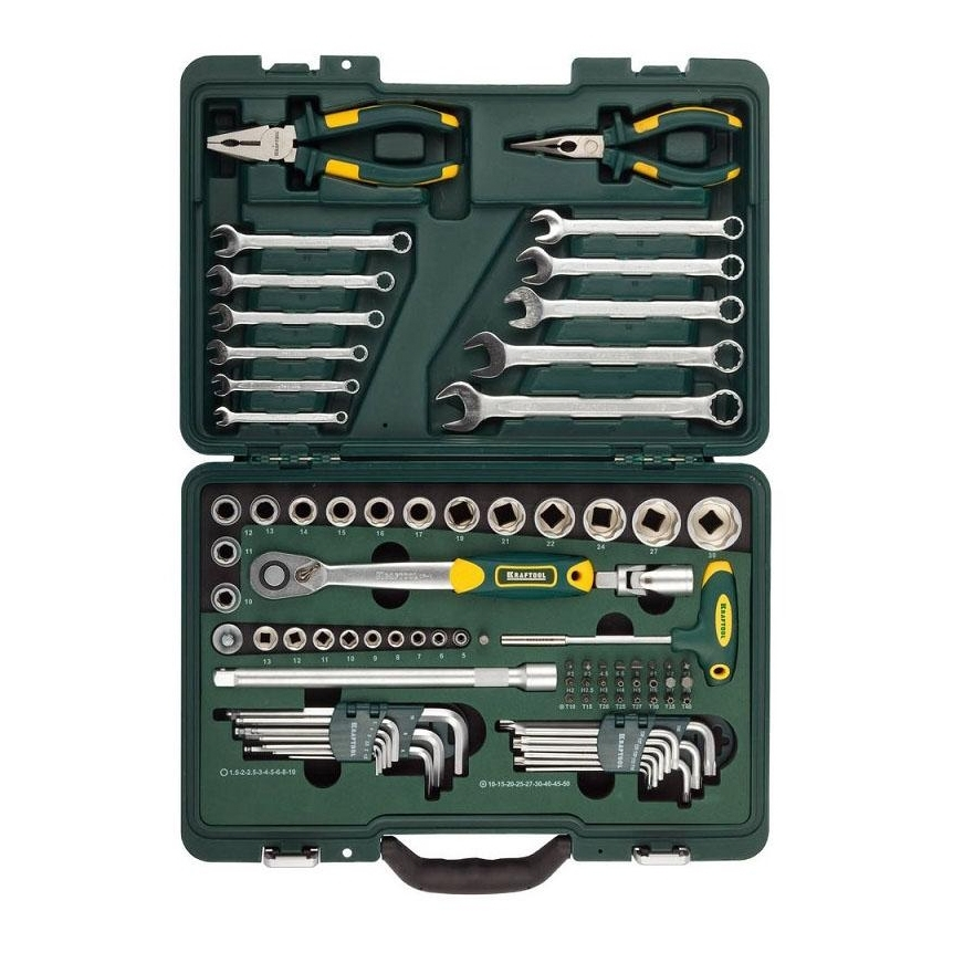 Set hand tool KRAFTOOL 27977-H84 (item 84, торцовые head, ratchet wrench, keys, bit set, case) цена