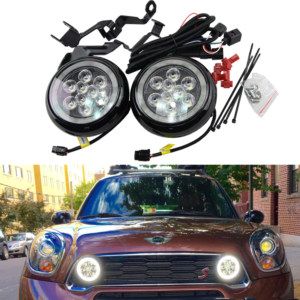 Super Bright One Set Mini Rally Driving DRL Angel Eyes Fog Light For R55 Clubman R56 Hatch R57 R58 Coupe R60 Countryman R61 F56