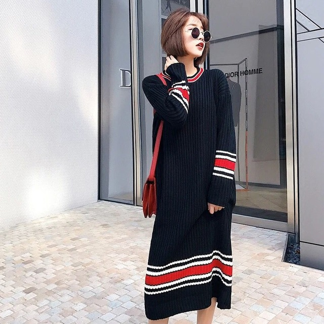 Women Knitted Dress Winter 2017 New Long-sleeved Korean Style Fashion Wild  Ladies Knit Dress Loose Casual Cotton Long Dress 2135bafc9654