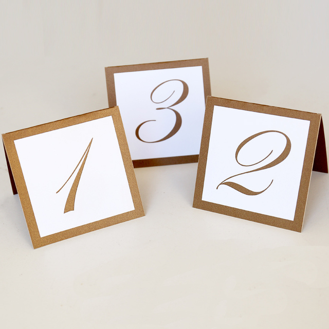 Gold table numbers,Ivory Shimmer Tent Wedding Table number cards ...