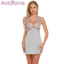 Avidlove Women Night Gown nighty night dress sleep wear Babydoll Sexy Lingerie Halter Set with G