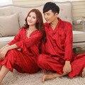Искусственного шелка мужские пижамы мужчин пижамы мужской сна и отдыха китайский красный свадебный Pijamas для женщин пара пижамы женский пижама