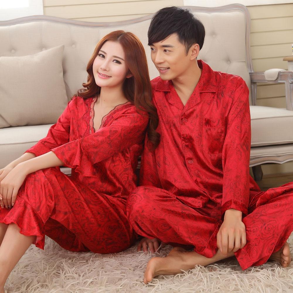 Faux Silk Mens Pajama Sets Men Sleepwear Male Sleep&lounge Chinese Red Wedding Pijamas For Women Couple Pajamas Female Pyjamas
