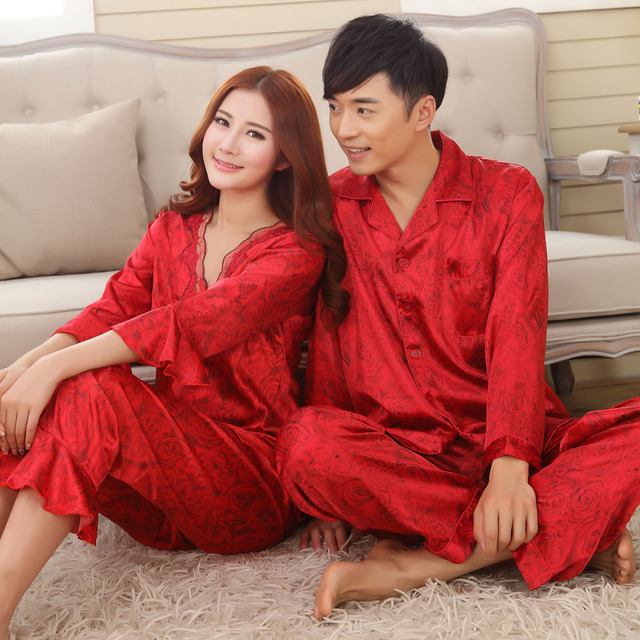 Faux silk mens pajama sets men sleepwear male sleep lounge Chinese red  wedding Pijamas for women couple pajamas female pyjamas 0c1f0fd9a