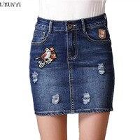 2017 Spring New Short Skirt For Women Vintage Embroidery Package Hip Plus Size Female Denim Skirt