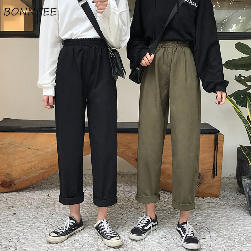 Jeans Women Spring Summer Trendy Solid Harajuku Ulzzang High Quality Korean Style All-match Simple Soft Loose Womens Trousers