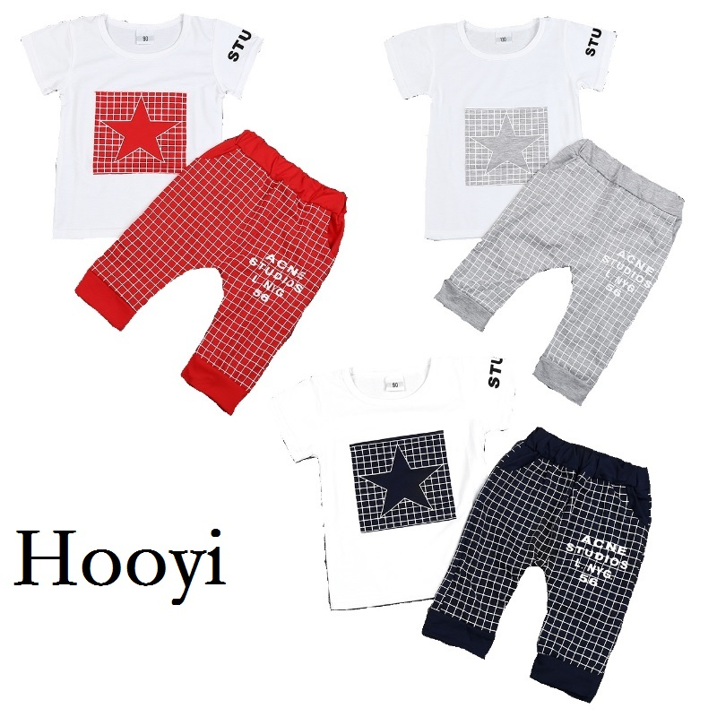 2017 Summer Baby Boys Clothes Sets Newborn Star T-Shirt Grid Pant Suit Fashion Bebe Girls Clothing Children Sport Suit Cotton
