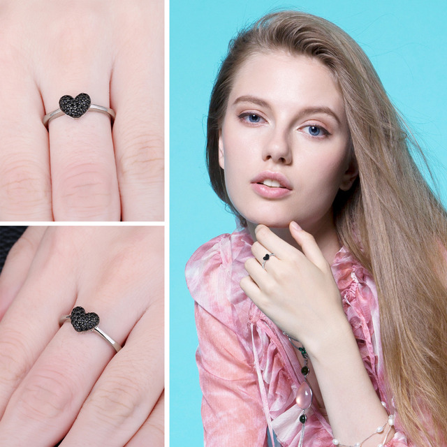 JewelryPalace Natural Black Spinel Gemstone Rings Love Heart 100% 925 Sterling Silver Rings Wedding Gifts Fine Jewelry