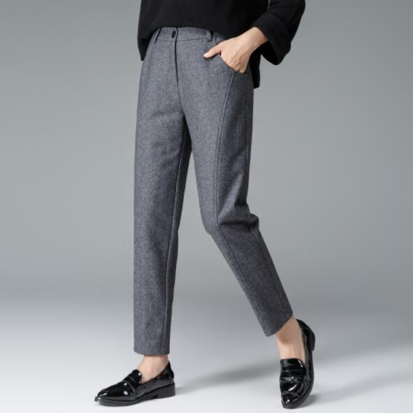 Pantalones Gris Color Otoño Plus Sólido Dv214 De Punto Mujeres Tamaño Negro Mediados Cintura Elástico Gran Lana Las Nuevo Nueve 2019 Harem gqWYqS