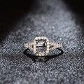 Venta caliente 18 K Oro Blanco 5x7mm Emerald Cut Montaje Semi Anillo de Compromiso de Diamantes Ajuste Del Diente