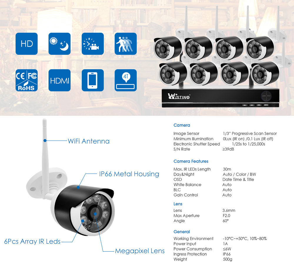 Wistino 8CH Wifi CCTV Camera HD 1080P System Security IP Camera Wireless NVR Kit Outdoor Waterproof Surveillance Kits P2P XMEye  (13)