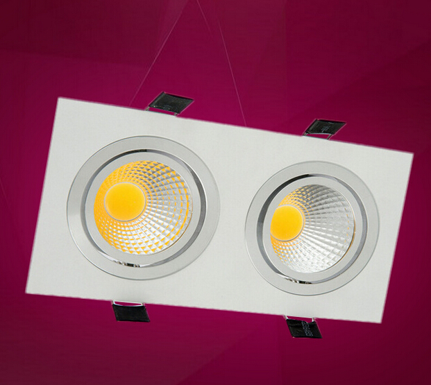 White Black silver shell double cob 20w led ceiling light dimmable 2 10w spot light recessed AC85 265v warm natural cold white in LED Downlights from Lights Lighting