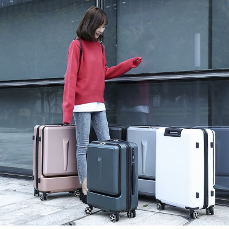 Can board front computer bag High quality business 20 24Rolling Luggage Spinner brand Travel Suitcase