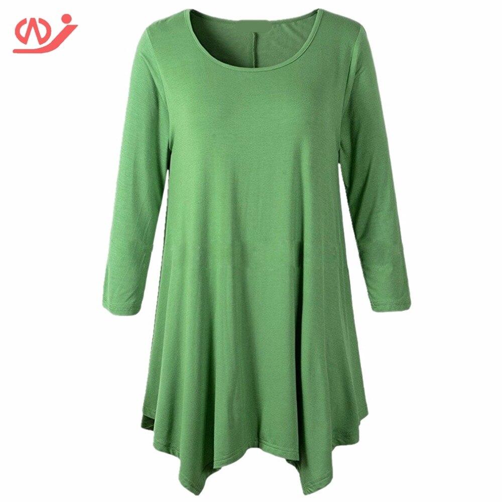 Women Plus Size Irregular Hem Long Sleeve Loose Shirt Tunic Tops