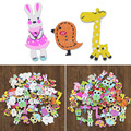 50 pcs Animais Mista 2 Furos de Madeira Botões de Costura DIY Craft Scrapbooking Handmad Colorido Decorativo Lã Criança Suprimentos Botão H