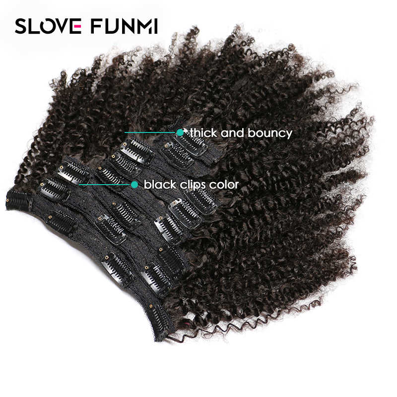 Slove Funmi Afro Kinky Curly Clip In Human Hair Extensions Remy Brazilian 8 Pieces Natural Color 2 Pack for Full Head Hair 120g
