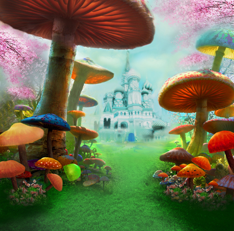 8x8FT Alice Wonderland Mushroom Passage Castle Palace Path