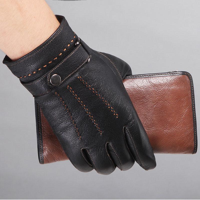 High Quality Fashion Mens Genuine Leather Gloves Sheepskin Belt Button Male Plus Velvet Warm Autumn Wrist Solid Driving Gloves