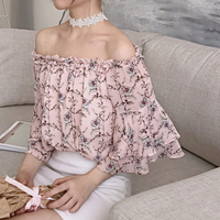 2018 Summer Women Floral Print Chiffon Blouse Flare Sleeve Sexy Off Shoulder Female Spring Sweet Casual