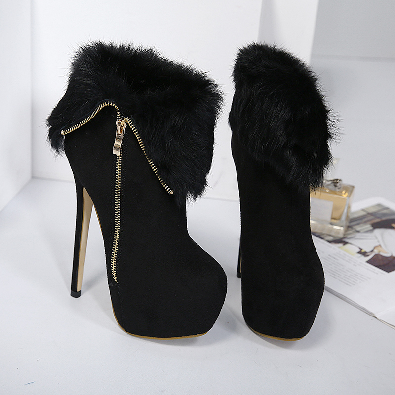 winter autumn boots sexy high heels shoes fashion ankle boots for women fur boots platform pumps women heels winter shoes LJA26 in Ankle Boots from Shoes