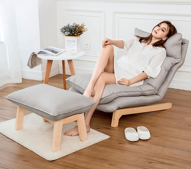 Modern Chaise Lounge Chair and Ottoman Set With Wooden Legs Living Room Furniture Fabric Upholstery Recliner Chair and Footstool