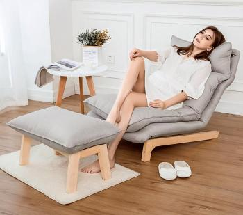 Modern Chaise Lounge Chair and Ottoman Set With Wooden Legs Living Room Furniture Fabric Upholstery Recliner Chair and Footstool mid century modern style armchair sofa chair legs wooden linen upholstery living room furniture bedroom arm chair accent chair