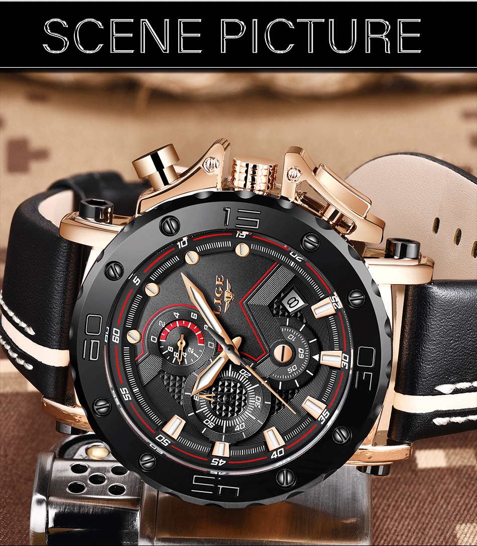 New LIGE Mens Watches Top Brand Luxury Big Dial Military Quartz Watch Casual Leather Waterproof Sport Chronograph Watch Men