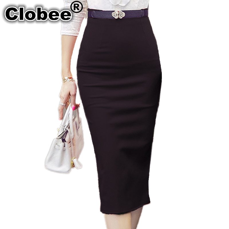 06cdd1163e 2019 Autumn and WInter Women Sexy Pencil Skirts Office Look High Waist Mid-Calf  Stretch