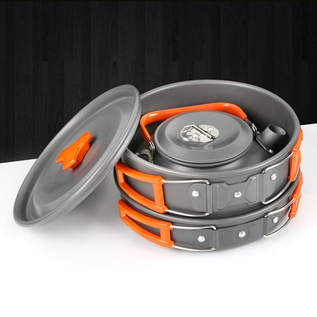 New Brand Outdoor Cookware Utensils set 2-3 Person Family Camping Teapot aluminum Pot 3 pcs per Set