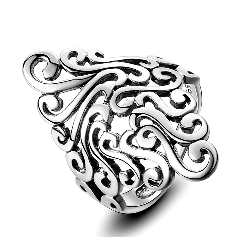 Rings For Women 925 Sterling Silver Fine Jewelry Vintage Hollow Boho Bohemia Cloud For Wedding Engagement Party Gifts