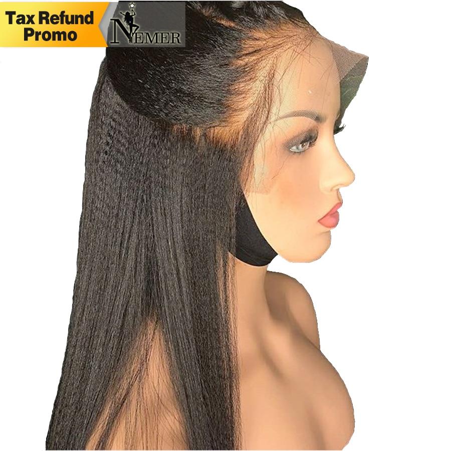 250% צפיפות יקי ישר 360 תחרה פרונטאלית פאות לנשים שחורות ברזילאי רמי מראש קטף תחרה מול קו שיער טבעי פאות